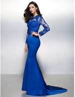 New Zealand Formal Evening Dress Beautiful Back Trumpet Mermaid Jewel Court Train Lace Satin With Lace