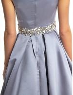 New Zealand Formal Evening Dress A Line V Neck Long Floor Length Satin With Beading Criss Cross