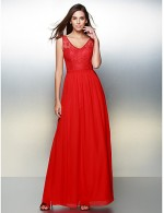 New Zealand Formal Evening Dress A Line V Neck Ankle Length Chiffon Lace With Lace