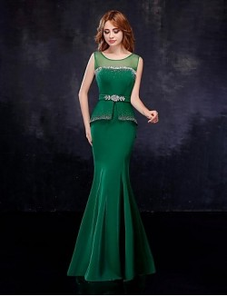 New Zealand Formal Evening Dress Trumpet Mermaid Scoop Long Floor Length Chiffon Tulle With Crystal Detailing Sash Ribbon