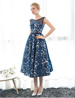 New Zealand Formal Evening Dress A Line Scoop Tea Length Satin Tulle With Embroidery