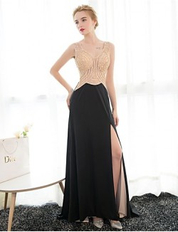 New Zealand Formal Evening Dress Sheath Column V Neck Long Floor Length Satin With Crystal Detailing