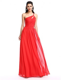 New Zealand Formal Evening Dress A Line Sexy One Shoulder Long Floor Length Chiffon With Side Draping Ruching