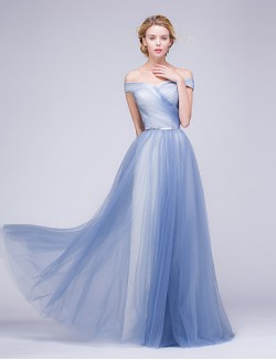New Zealand Formal Evening Dress A Line Off The Shoulder Long Floor Length Tulle Dress With Beading Sash Ribbon Side Draping
