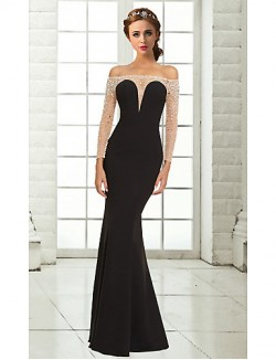 New Zealand Formal Evening Dress Trumpet Mermaid Off The Shoulder Long Floor Length Chiffon With Beading