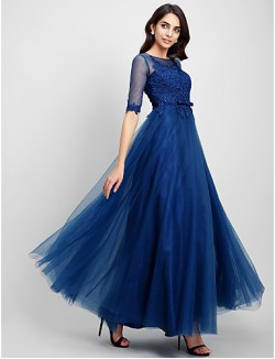 New Zealand Formal Evening Dress A Line Scoop Long Floor Length Lace Dress Tulle With Lace