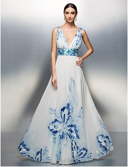 Prom Gowns New Zealand Formal Evening Dress Military Ball Dress Floral Elegant Plus Size Petite A Line Princess V Neck Long Floor Length Chiffon