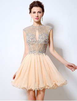 New Zealand Cocktail Party Dress A Line Jewel Short Mini Chiffon With Crystal Detailing