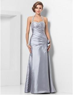 New Zealand Formal Evening Dress Military Ball Dress Elegant Plus Size Petite Sheath Column Halter Sweetheart Long Floor Length Taffeta With Beading