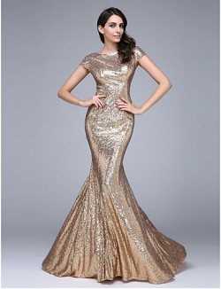 New Zealand Formal Evening Dress Trumpet Mermaid Bateau Court Train Sequined With Sequins