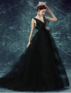New Zealand Formal Evening Dress A Line V Neck Sweep Brush Train Tulle With