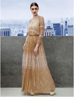 New Zealand Formal Evening Dress Black Tie Gala Dress A Line Jewel Long Floor Length Tulle Dress With Sequins