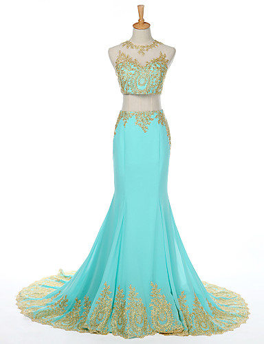 2017 New Zealand Formal Evening Dress Trumpet Mermaid Scoop Sweep Brush Train Satin With Appliques