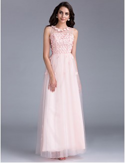 Prom Gowns New Zealand Formal Evening Dress Holiday Family Gathering Dress Floral See Through Lace Up A Line Bateau Long Floor Length Tulle Dress WithBeading