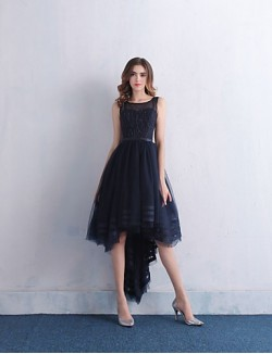 New Zealand Cocktail Party Dress Ball Gown Scoop Asymmetrical Lace Satin Tulle With Beading Lace