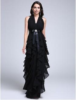 New Zealand Formal Evening Dress Sheath Column Halter Long Floor Length Chiffon With Sash Ribbon Ruffles Crystal Brooch