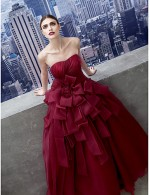 New Zealand Formal Evening Dress A Line Sweetheart Chapel Train Organza With Side Draping
