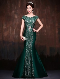 New Zealand Formal Evening Dress Trumpet Mermaid Off The Shoulder Sweep Brush Train Lace Satin Polyester With Crystal Detailing Lace