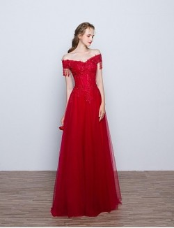New Zealand Formal Evening Dress A Line Off The Shoulder Long Floor Length Lace Dress Tulle With Appliques Beading Flower