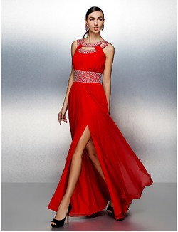 Prom Gowns New Zealand Formal Evening Dress Plus Size Petite A Line Jewel Long Floor Length Chiffon With Beading Draping Sash Ribbon