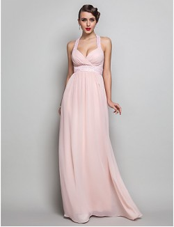 Prom Gowns New Zealand Formal Evening Dress Military Ball Dress Open Back Plus Size Petite Sheath Column V Neck Long Floor Length Chiffon With Beading