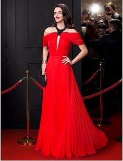New Zealand Formal Evening Dress A Line Jewel Long Floor Length Chiffon With Beading Draping