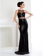 New Zealand Formal Evening Dress Black Tie Gala Dress Trumpet Mermaid Jewel Sweep Brush Train Sequined With