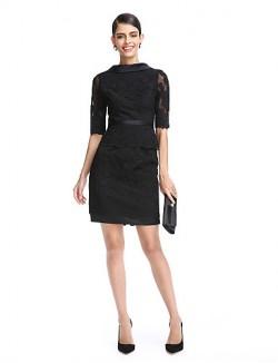 New Zealand Cocktail Party Dress Sheath Column High Neck Short Mini Lace Satin With Appliques Lace Sash Ribbon
