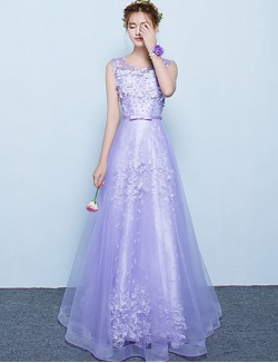 New Zealand Formal Evening Dress A Line Scoop Long Floor Length Tulle Dress With Sash Ribbon
