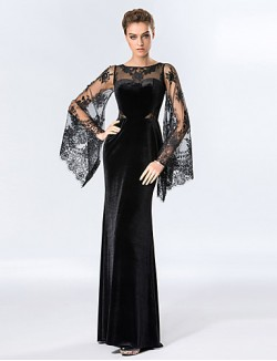New Zealand Formal Evening Dress Sheath Column Scoop Long Floor Length Velvet With Lace
