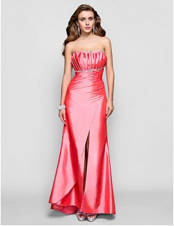 Prom Gowns New Zealand Formal Evening Dress Military Ball Dress Open Back Plus Size Petite Sheath Column Scalloped Long Floor Length Taffeta With Beading