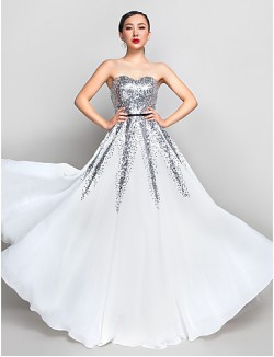 Prom Gowns New Zealand Formal Evening Dress Military Ball Dress Plus Size Petite A Line Sweetheart Long Floor Length Chiffon Sequined With Sequins