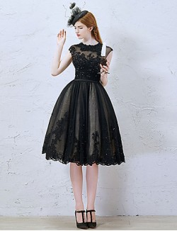 New Zealand Cocktail Party Dress Little Black Dress A Line Jewel Short Knee Length Lace Tulle With Appliques Beading Lace Sequins