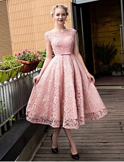 New Zealand Cocktail Party Dress A Line Scoop Tea Length Lace Tulle With Beading Bow Lace Pearl Detailing Sequins