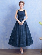 New Zealand Formal Evening Dress A Line Scoop Tea Length Lace With Bow Pearl Detailing