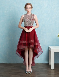 New Zealand Formal Evening Dress Ball Gown Jewel Asymmetrical Satin Tulle With Beading Bow Sash Ribbon Sequins