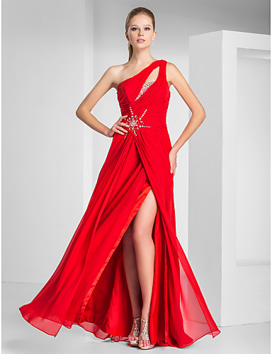 Prom Gowns New Zealand Formal Evening Dress Military Ball Dress Sexy Plus Size Petite Sheath Column Sexy One Shoulder Long Floor Length Chiffon With Beading
