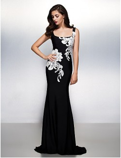 New Zealand Formal Evening Dress Trumpet Mermaid Square Sweep Brush Train Jersey With Appliques