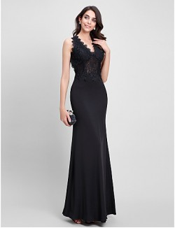 New Zealand Formal Evening Dress Trumpet Mermaid V Neck Ankle Length Jersey With Lace