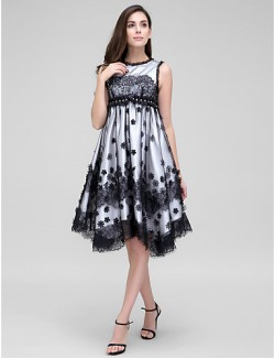 New Zealand Cocktail Party Dress A Line Jewel Asymmetrical Lace Tulle With Crystal Detailing Flower Lace