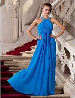 Prom Gowns New Zealand Formal Evening Dress Military Ball Dress Elegant Plus Size Petite Sheath Column Halter Long Floor Length Chiffon With Beading