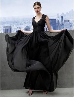 New Zealand Formal Evening Dress Black Tie Gala Dress A Line Sweetheart Long Floor Length Chiffon With Lace Criss Cross