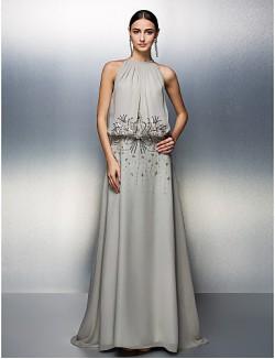 Balo Resmi Akşam Zerafet Galası Elbise A Şekilli Taşlı Yaka Yere Kadar Şifon Ile Boncuk Payetler