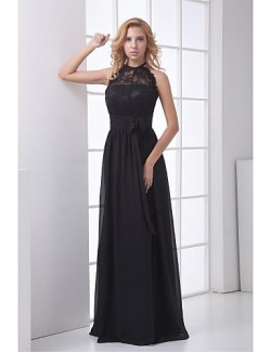 New Zealand Formal Evening Dress Sheath Column Halter Long Floor Length Chiffon Lace With Lace Sash Ribbon