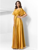 New Zealand Formal Evening Dress Military Ball Dress Vintage Inspired Plus Size Petite A Line Princess Scoop Long Floor Length Stretch Satin WithDraping