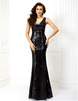 New Zealand Formal Evening Dress Military Ball Dress Plus Size Petite Trumpet Mermaid V Neck Long Floor Length Sequined With