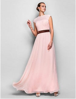 Prom Gowns New Zealand Formal Evening Dress Military Ball Dress Elegant Plus Size Petite A Line Jewel Long Floor Length Georgette WithSash Ribbon Side