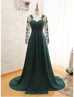 New Zealand Formal Evening Dress A Line Sweetheart Sweep Brush Train Chiffon With Appliques Pleats