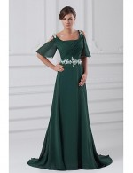 New Zealand Formal Evening Dress A Line Square Court Train Chiffon With Appliques Beading Pleats