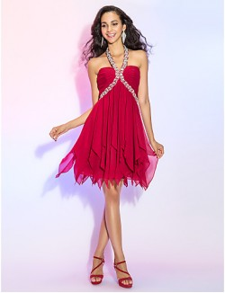 New Zealand Cocktail Party Dresses Homecoming Prom Dress Open Back Plus Size Petite A Line Princess Halter Short Mini Chiffon WithCrystal